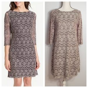 JESSICA HOWARD taupe lace shift dress size 8